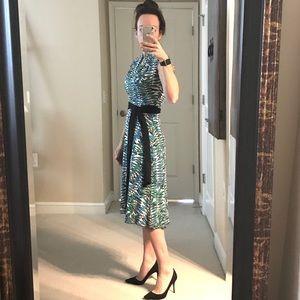 Eva Franco Leaf Print Midi Dress
